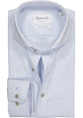 Michaelis Slim Fit overhemd, lichtblauw met wit dwars gestreept