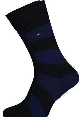 Tommy Hilfiger Rugby Stripe Socks (2-pack), herensokken katoen gestreept en uni, navy blauw