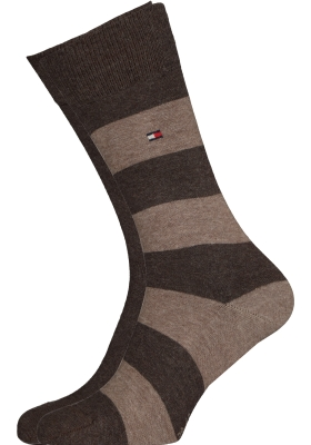 Tommy Hilfiger Rugby Stripe Socks (2-pack), herensokken katoen gestreept en uni, bruin