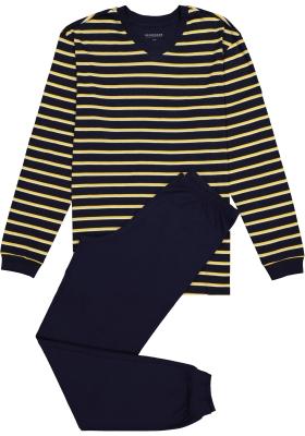 Schiesser heren pyjama, blauw-geel gestreept
