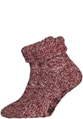Homepads huissokken wol, bordeaux rood melange