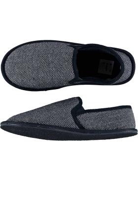 Pantoffels heren, blauwe slof tweed