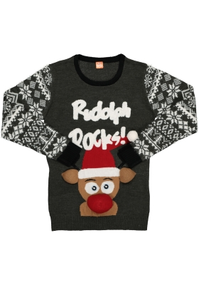 Kerst trui, O-hals, Rudolph Rocks