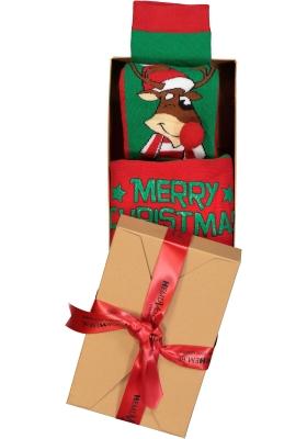 Homepads Kerst herensokken, ondeugende Rudolph in cadeauverpakking (one size)