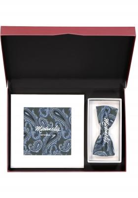 Cadeauset Michaelis strikje met pochet, blauw met groen paisley in cadeaudoos