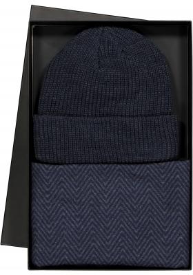 Set Michaelis sjaal met muts in cadeaudoos, blauw-grijs vissengraat met uni muts