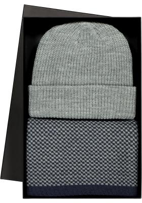 Heren cadeauset: Michaelis sjaal navy blauw - grijs dessin met muts in cadeauverpakking