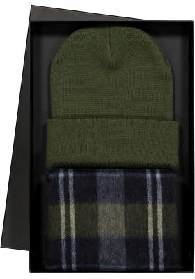 Cadeauset Michaelis heren sjaal en muts in cadeauverpakking, grijs, groen en blauw geruit