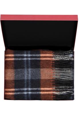 Michaelis heren sjaal in cadeauverpakking, grijs, roestbruin en blauw geruit
