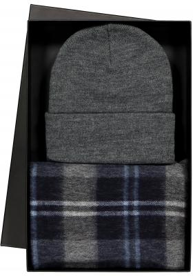 Cadeauset Michaelis heren sjaal en muts in cadeauverpakking, grijs blauw geruit