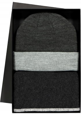 Set Profuomo sjaal met muts in cadeaudoos, antraciet met grijs