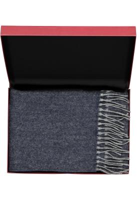 Profuomo heren sjaal in cadeauverpakking, blauw met grijs wol met kasjmier