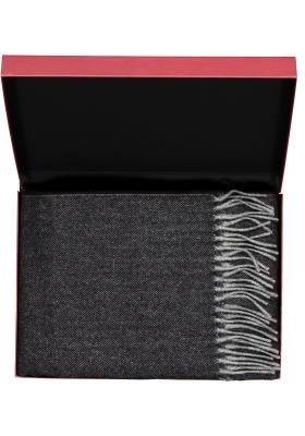 Profuomo heren sjaal in cadeauverpakking, zwart met grijs wol met kasjmier
