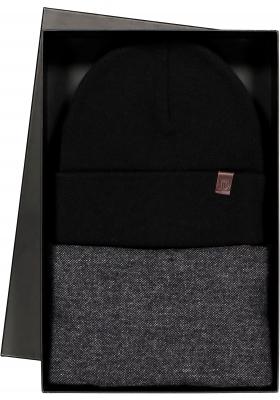 Cadeauset Profuomo sjaal en muts in cadeauverpakking, zwart met grijs wol met kasjmier