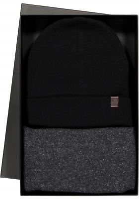 Cadeauset Profuomo sjaal en muts in cadeauverpakking, antraciet met zwart tweed