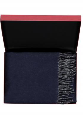 Profuomo heren sjaal in cadeauverpakking, donkerblauw met grijs kasjmier