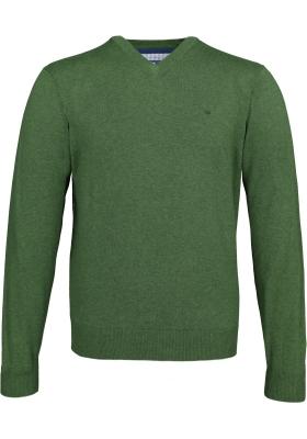 Redmond heren trui katoen, V-hals, donker groen