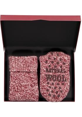 Homepads sokken wol, bordeaux rood (in cadeauverpakking)