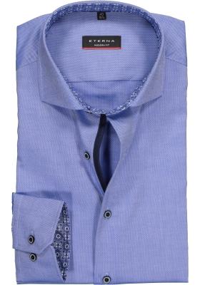 ETERNA Modern Fit overhemd, blauw structuur (contrast)