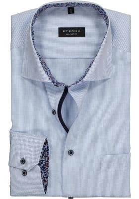 ETERNA Comfort Fit overhemd, lichtblauw geruit twill (contrast)