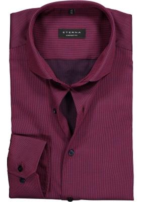 ETERNA Comfort Fit overhemd, bordeaux rood twill structuur