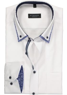 ETERNA Comfort Fit overhemd, wit fijn Oxford met dubbele kraag (contrast)