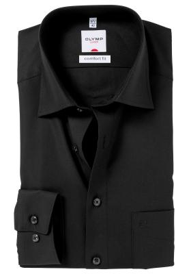 OLYMP Comfort Fit overhemd, zwart