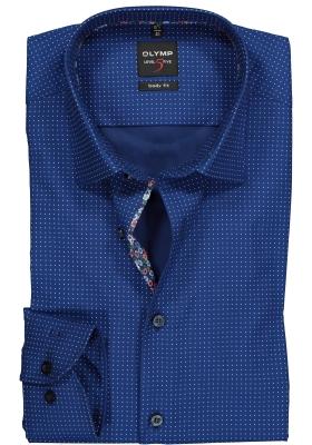 OLYMP Level 5 body fit overhemd, donkerblauw gestipt met structuur (contrast)