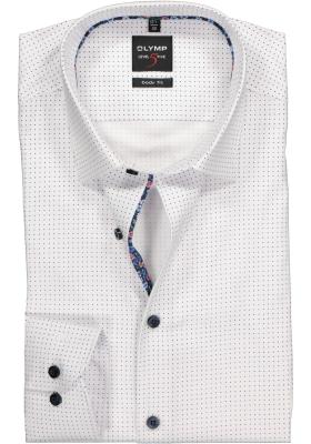 OLYMP Level 5 Body Fit overhemd, wit gestipt met structuur