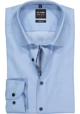 OLYMP Level 5 body fit overhemd, mouwlengte 7, lichtblauw gestipt structuur