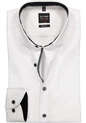 OLYMP Level 5 body fit overhemd, wit (zwart contrast)