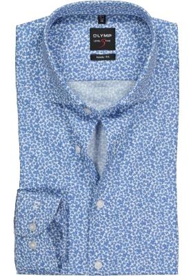 OLYMP Level 5 body fit overhemd, lichtblauw mini bloem dessin