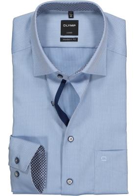 OLYMP Modern Fit overhemd, lichtblauw structuur (contrast)