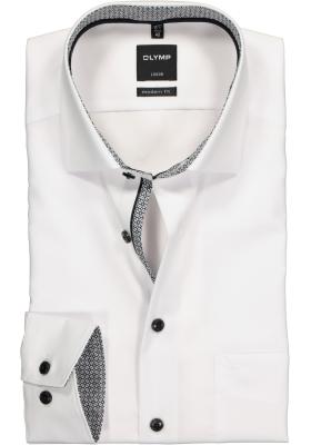 OLYMP Modern Fit overhemd, wit (zwart en grijs contrast)