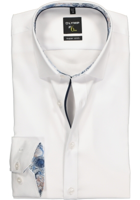 OLYMP No. 6 Six, Super Slim Fit overhemd mouwlengte 7, wit structuur (blauw contrast)