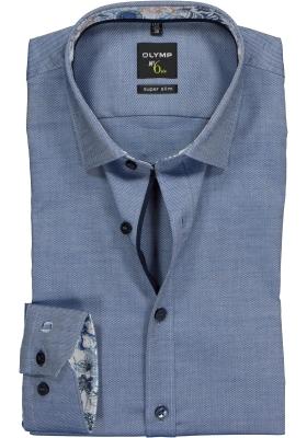 OLYMP No. 6 Six, Super Slim Fit overhemd mouwlengte 7, blauw structuur (blauw contrast)