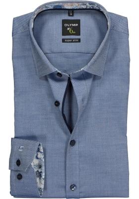 OLYMP No. 6 Six, Super Slim Fit overhemd, blauw structuur (contrast)