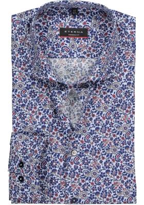 ETERNA Modern Fit overhemd, rood-wit-blauw dessin