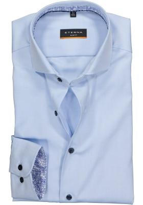 ETERNA Slim Fit overhemd, niet doorschijnend lichtblauw twill (contrast)
