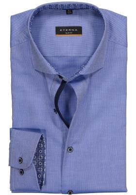ETERNA Slim Fit overhemd, blauw structuur (contrast)