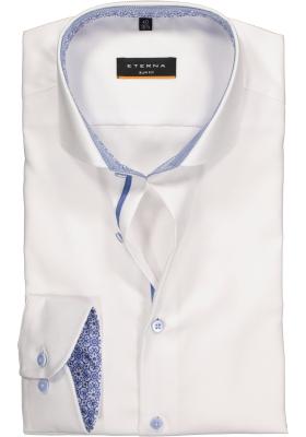 ETERNA Slim Fit overhemd, wit structuur (contrast)
