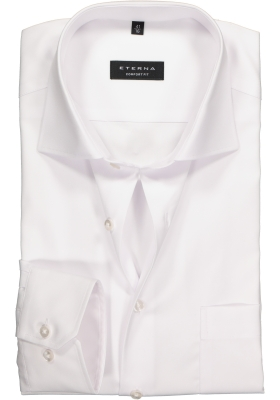 ETERNA Comfort Fit overhemd, Mouwlengte 7, wit niet doorschijnend twill