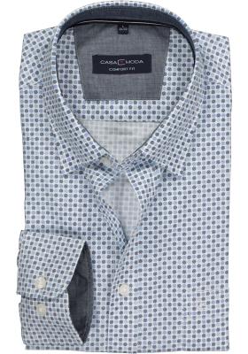 Casa Moda Sport Comfort Fit overhemd, blauw-wit dessin (contrast)