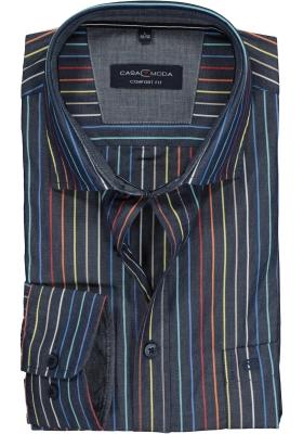 Casa Moda Sport Comfort Fit overhemd, blauw gestreept regenboog (contrast)