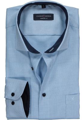 Casa Moda Comfort Fit overhemd, licht blauw/groen met wit structuur dessin (contrast)