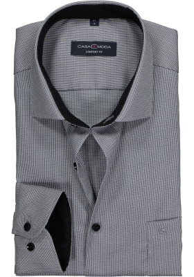 CASA MODA comfort fit overhemd, zwart, grijs met wit structuur mini dessin (contrast)