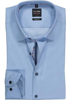 OLYMP Level 5 Body Fit overhemd, lichtblauw gestipt met structuur
