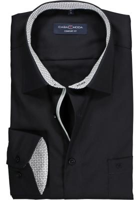 Casa Moda Comfort Fit overhemd, zwart (contrast)