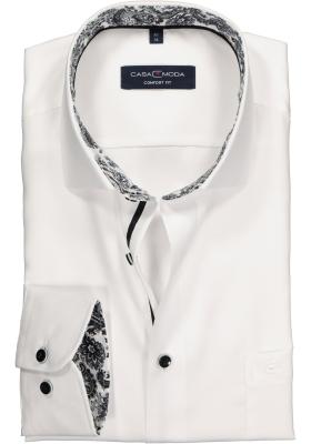 Casa Moda Comfort Fit overhemd, wit structuur (zwart contrast)