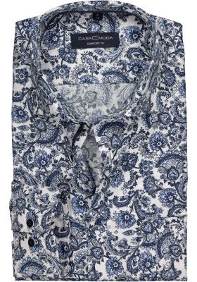 Casa Moda Comfort Fit overhemd, blauw structuur dessin
